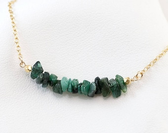 Natural Raw Emerald Bar Necklace, Gemstone Layering Necklace, May Birthstone Necklace, Delicate Necklace, Minimalist Bar Necklace, NK-RB