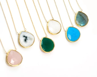 Colorful Gemstone Necklace, Something Blue, Layered Necklace, Gemstone Pendant, Wedding Jewelry, Bridesmaid Necklace, Boho Jewelry