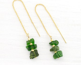Green Gemstone Threader Earrings, Chrome Diopside Earrings, Chain Dangle Earrings, Modern Boho Jewelry, Raw Crystal Threaders, TH-RS