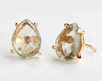 Green Amethyst Studs, Bridal Party Jewelry, February Birthstone, Bridesmaid Stud Earrings, Post Earrings, Minimalist Gemstone Studs