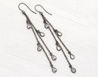 CZ Raindrop Earrings, Sterling Silver Chain Earrings, Modern Bride, Minimalist Chandelier Earrings, Summer Jewelry, Festival Earrings