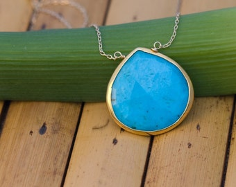 Blue Turquoise Necklace - Gold Chain Necklace - Layering Necklace - December Birthstone Jewelry - Stone Pendant - Boho Necklace, NK-20