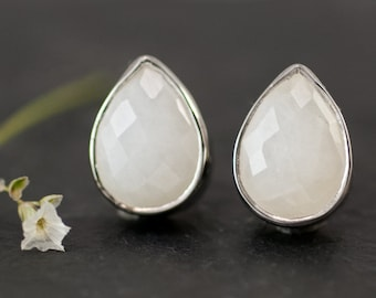 Stud Earrings - White Agate Stud Post Earrings - Silver Stud Gemstone Earrings - White Tear Drop Stud Earrings
