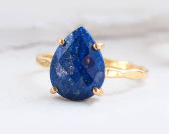 Blue Lapis Lazuli Ring Gold, September Birthstone Ring, Gemstone Ring, Stacking Ring, Tear Drop Ring, Blue Stone Ring, Statement Ring, RG-PP