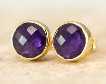 February Birthstone Earrings, Purple Amethyst Gold Stud Earrings, Semi Precious Stone Earrings, Bridal Jewelry, Gift Ideas