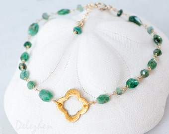 Raw Emerald Bracelet - Stack Bracelet - May Birthstone Jewelry - Gold Four Leaf Clover Bracelet - Gold bracelet - Wire wrapped