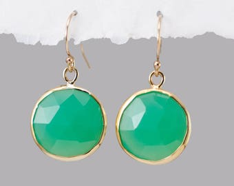 Chrysoprase Earrings, Mint Green Earrings, Round Gemstone Earrings, Gold Dangle Earrings, Stone Drop Earrings, Gold Framed Stone, Wife Gift