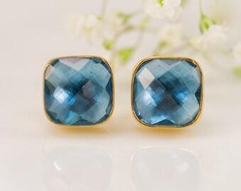 London Blue Topaz Stud Earrings - December Birthstone Studs - Gemstone Studs - Cushion Cut Studs - Gold Stud Earrings - Post Earrings, EA-SQ