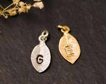 Add on Personalized Leaf Charm - Personalized Birthstone Initial Necklaces