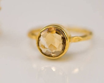 Yellow Citrine Ring Gold, November Birthstone Ring, Solitaire Stacking Ring, Gold Vermeil Ring, Round Ring, Stackable Stone Ring