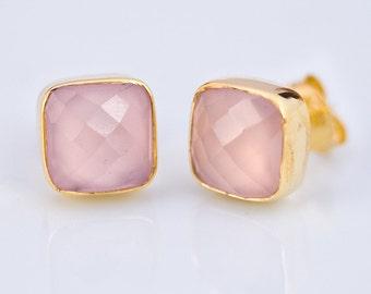 Pink Chalcedony Stud Earrings - October Birthstone Studs - Gemstone Studs - Cushion Cut Studs - Gold Stud Earrings - Post Earrings
