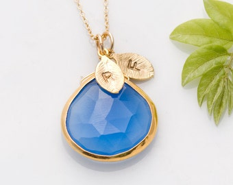 Deep Blue Chalcedony Necklace - Personalized Necklace - Customize Initials Necklace - Gemstone Necklace - Gold Necklace, NK-20