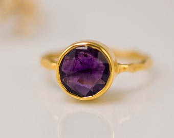 Purple Amethyst Ring Gold - February Birthstone Ring - Gemstone Ring - Stacking Ring - Gold Vermeil Ring - Round Ring