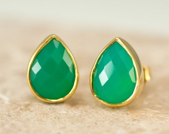 Chrysoprase Stud Earrings - Gemstone Studs - Tear Drop Studs - Stud Earrings - Post Earrings
