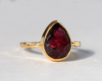 40 0FF - Garnet Ring - January Birthstone Ring - Gemstone Ring - Stacking Ring - Gold Plated - Tear Drop Ring, RG-PB