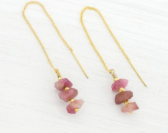 Raw Pink Tourmaline Earrings, Chain Threader Earrings, Gift for Libra, October Birthstone Earrings, Rough Pink Gemstone Jewelry, TH-RS
