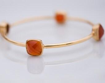Bangle - Orange Carnelian Bracelet - July Birthstone - Gemstone Bangles - Bezel Set Bangles - Gold Bracelets