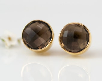 Smokey Quartz Stud Earrings, Gemstone Studs, Back to School Gift, Round Studs, Minimalist Post Earrings, Autumn Jewelry