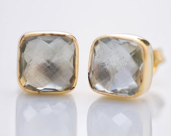 Green Amethyst Stud Earrings - Gemstone Studs - Cushion Cut Studs - Gold Stud Earrings - Post Earrings