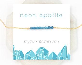 Neon Blue Apatite Bar, Festival Jewelry, Inspirational Jewelry, Modern Layering Necklace, Birthday Gifts, Dainty Gem Bar, NK-DB