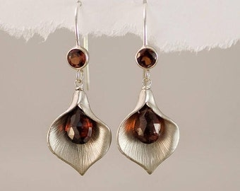Garnet Earrings - January Birthstone Earrings - Calla Lily Earrings - Silver Earrings - Nature Inspired Jewelry