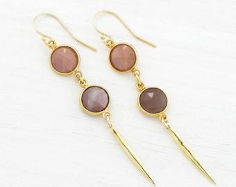 Peach Moonstone Spike Earrings, Natural Moonstone, Celestial Jewelry, Modern Geometric Earrings, June Birthstone Gift, Modern Bridal Jewelry