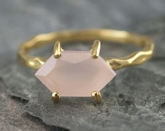 Pink Chalcedony Ring Gold, October Birthstone Ring, Rose Quartz Ring, Stacking Birthstone Ring, Marquise Ring, Gift for Her, RG-MQ