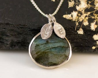 Labradorite Necklace Sterling Silver, Natural Gemstone Pendant, Personalized Initial Necklace, Best Friend Gifts, Handmade Jewelry, NK-20