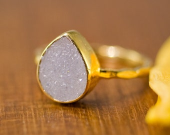 Rough Druzy Ring Gold - April Birthstone Ring - Gemstone Ring - Stacking Ring - Gold Ring - Tear Drop Ring