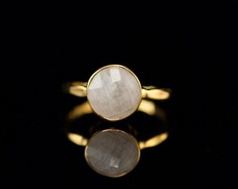 40 0FF - White Moonstone Ring - June Birthstone Ring - Gemstone Ring - Gold Ring - Bezel Set Ring, RG-RD