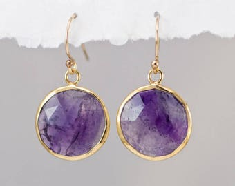 Purple Amethyst Earrings, February Birthstone Earrings, Ultra Violet Earrings, Round Gemstone, Drop Earrings, Statement, 2018 Jewelry Trends