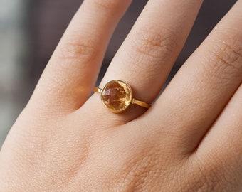 40 0FF - Citrine Ring - November Birthstone Ring - Gemstone Ring - Stacking Ring - Gold Ring - Round Ring, RG-RD
