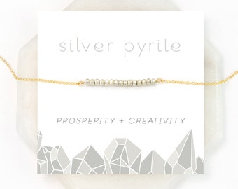 Dainty Everyday Silver Pyrite Necklace, Modern Minimal Choker, Inspirational Prosperity Stone, Layering Necklace, NK-DB