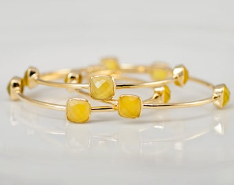 SET OF 3 Bangles - Yellow Chalcedony Bangles -  Yellow Bangles - Gemstone Bangles - Stacking Bangles - Gold Bangle
