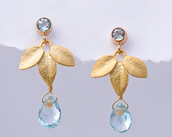 Blue Topaz Earrings - Something Blue Jewelry - December Birthstone Earrings - Leaf Earrings - Bridal Jewelry - Floral Earrings