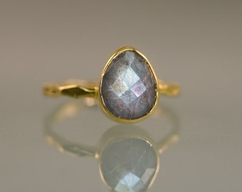 Labradorite Ring Gold - Solitaire Ring - Stone Ring - Stacking Ring - Gold Ring - Tear Drop Ring