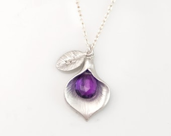 Purple Amethyst Personalized Necklace - February Birthstone Necklace - Custom Initial Jewelry - Personalized necklace - Calla Lilly Necklac