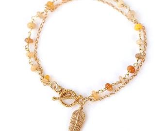 Feather Charm Bracelet - Opal Bracelet - Friendship Bracelet - Wire wrapped Toggle Bracelet - Layering Bracelet - Gift for her