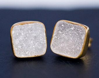 Druzy Stud Earrings - April Birthstone  Stud Earrings - Gemstone Studs - Cushion Cut Studs - Gold Stud Earrings - Post Earrings