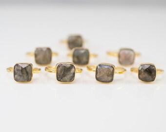 40 0FF - Labradorite Ring - Statement Ring - Gemstone Ring - Gold Ring - Stackable rings - Bezel Set Ring - Cushion Cut Ring, RG-SQ