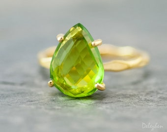 Green Peridot Ring Gold - August Birthstone Ring - Solitaire Ring - Green Stone Ring - Stackable Ring - Gold Ring, RG-PP