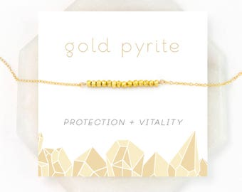Gold Pyrite Protection Necklace, Beaded Choker, Bridesmaid Gift, Inspirational Jewelry, Modern Wedding Necklace, Everyday Jewelry, NK-DB