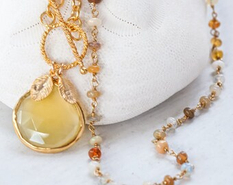 Ethiopian opal Necklace - October Birthstone Necklace - Personalized Necklace - Wire Wrapped Necklace - Gold Toggle