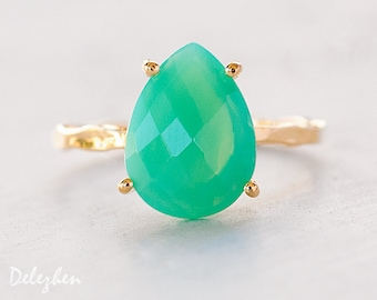 Mint Chrysoprase Ring - Gemstone Ring - Stacking Ring - Gold Ring - Tear Drop Ring - Prong Set Ring