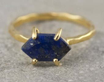Blue Lapis Lazuli Ring, September Birthstone Ring, Stack Ring, Stackable Birthstone Ring, Gold Vermeil Ring, Marquise Prong Set Ring, RG-MQ