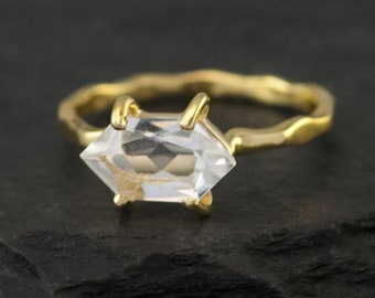 Crystal Quartz Ring - April Birthstone Ring - Stackable Birthstone Ring - Gold Vermeil Ring - Marquise Prong Set Ring, RG-MQ