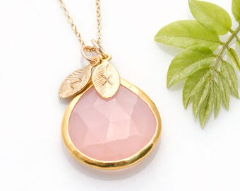 Custom Birthstone Necklace, Personalized Name Jewelry, Pink Necklace Gold, October Birthday Gift, Tear Drop Stone, Gift for BFF, NK-20
