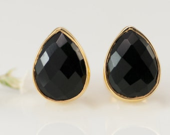 Black Onyx Stud Earrings - Gemstone Studs - Tear Drop Studs - Gold Stud Earrings - Post Earrings