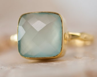 Aqua Blue Chalcedony Ring - Gemstone Ring - Stacking Ring - Gold Ring- Cushion Cut Ring