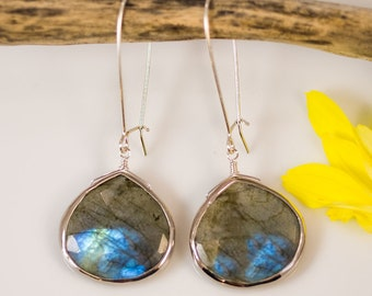 Modern Labradorite Earrings, Long Drop Earrings, Sterling Silver, Dangle Earrings, Faceted Labradorite, Aurora Borealis Jewelry, Bridal Gift